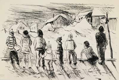 Untitled (kids waiting) lithograph
