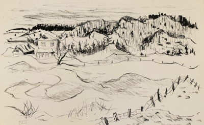 Untitled (Landscape with a farm) lithograph