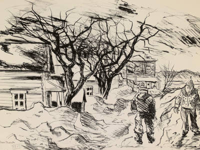 Village street scene with two boys