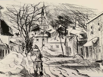 Village street scene with a boy