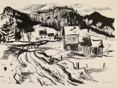 Road to the village Lithograph