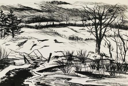 Untitled landscape lithograph