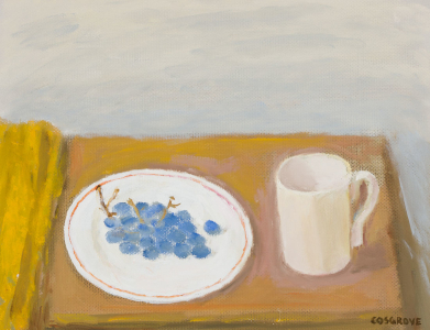 Blue Grapes on Red-Bordered Plate